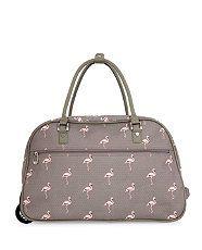 be2c6359d98 Grey (Grey) Grey Flamingo Print Trolley Bag