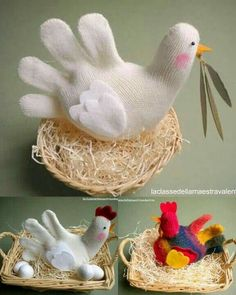 Vredesduif of kip Sewing For Kids, Diy For Kids, Kids Christmas, Christmas Crafts, Easter Crafts, Crafts For Kids, Idees Cate, Chicken Crafts, Sock Toys