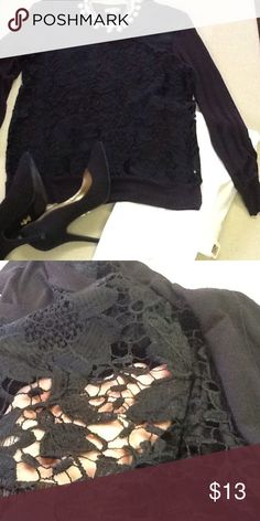 Very pretty lace top💕 Very feminine black lace top see through front see photo 2 plain black at the back and plain black sleeves💕 Tops Tees - Short Sleeve