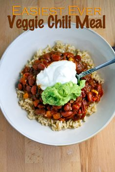 A complete chili veggie meal w/ serving ideas