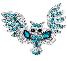 #Silver #Diamond #BlueTopaz #Owl #Brooch #Pins #Jewellery