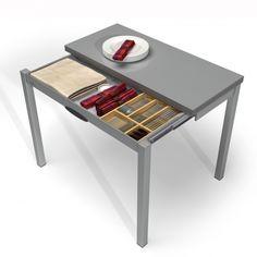 table petit espace en verre avec allonges - piccola 2 | cuisine