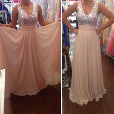 Light Pink Prom Dresses,Chiffon Prom Dress,A Line Prom Dress,Long Prom Gown,Elegant Prom Dresses,Silver Beaded Long Evening Dress