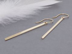 14k gold long bar earrings, solid gold matchstick earrings - pinned by pin4etsy.com