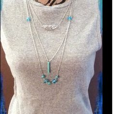 ⚡️Sale Silver Layer Necklace Silver-chained layer necklace with charming turquoise accent and chain stone charms. This fabulous Necklace is everything you want in a necklace - shimmery, delicate silver chain, unique accents is sure to wear with anything!Price firm Three Bird Nest Jewelry Necklaces