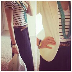 Cute way to wear a maxi skirt for work.