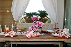coral themed table