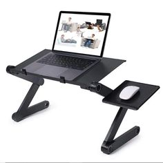 Adjustable Ergonomic Portable Aluminum Laptop Desk TV Bed Lap Desk Tray PC Table Stand Notebook Table Desk Stand With Mouse Pad(China) Table Portable, Portable Laptop Desk, Laptop Tray, Portable Tv, Laptop Table, Laptop Stand For Bed, Desk Tray, Pc Desk, Desk Bed