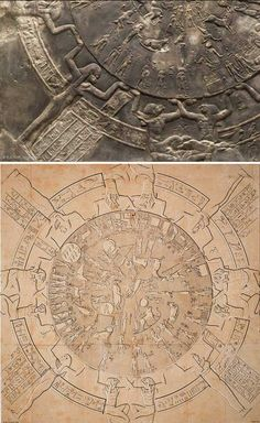 CELESTIAL MAP OF THE PLANETS, CONSTELLAnONS, AND ZODIAC   An example of a late Egyptian astronomical depiction carved on the ceiling of the chapel of Osiris, temple ofDendera, from the end ofthe Ptolemaic period (first century B.C.).