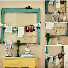 Love these colors and the idea of hanging photos in a huge frame. Need this in my hallway.