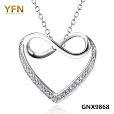 YFN 2016 New Fashion Genuine 925 Sterling Silver Infinity Heart Pendant Necklace CZ Necklace Valentine's Gifts For Women