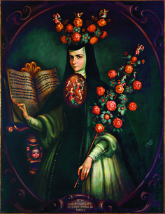 "Jorge Sánchez Hernández, ""Décimas"", serie de retratos de sor Juana Inés de la Cruz, óleo sobre tela, sin medidas, colección particular (Familia Trauwitz, México), siglo XX catalogación: Juan Carlos Cancino."