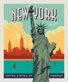 """Lady Liberty fabric panel from the Destinations fabric collection by Anderson Design Group for Riley Blake Designs.Statue of Liberty of New York panel measures 36"""" x 43"""".This stunning collection evokes a nostalgic, yet modern feel of worldwide cities we dream about and travel to--New York, London, Lake Tahoe, and more. Whether on your """"been there"""" list or your bucket list, the Destinations collection will inspire you to travel, to create, and to make memories for years to come.If you're not into New York Vintage, Vintage Ski, Vintage Gifts, Flyer Inspiration, Foto Poster, Poster Poster, Party Poster, New York Poster, Poster City"""