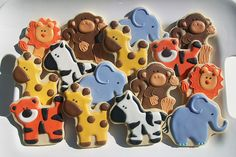 Baby jungle animal cookies