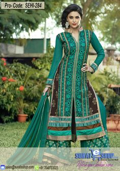Cyan Salwar Kameez, Top:Pure Gorgette viscous long, Bottom:Santun Palzo with work, Inner:Santun, Dupatta:Najmin pure  Visit: http://surateshop.com/product-details.php?cid&pid=11859&mid=0