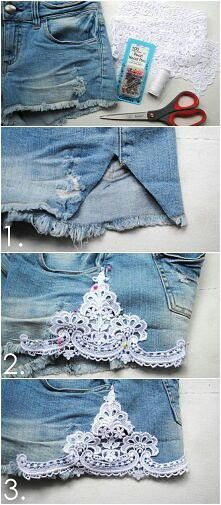 jean shorts with lace. diy.