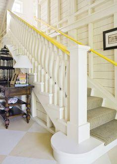 Staircase Banister Ideas, Stair Railing, Bannister Ideas, Interior Staircase, Railings, Yellow Stairs, Painted Stairs, Painted Staircases, Stair Decor