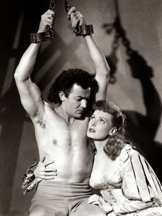 Cornel Wilde and Maureen O'Hara in At Sword's Point. 1952
