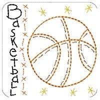 Primsy Basketball Square 4x4   Primitive   Machine Embroidery Designs   SWAKembroidery.com Homeberries Designs