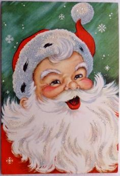 50s Glittered Santa Claus-Vintage Christmas Greeting Card #