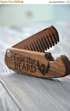 ON SALE Folding comb Fear the beard Walnut Beard comb Personalized custom engraved wooden comb For men him. Fear the beard. Beard comb, mous
