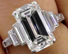 Image result for emerald cut ring