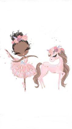 Ballerina Clipart by Karamfila on Unicornios Wallpaper, Iphone Wallpaper Unicorn, Ballet Wallpaper, Baby Girl Clipart, Birthday Clipart, Unicorn Art, Unicorn Horse, Cute Drawings, Cute Wallpapers