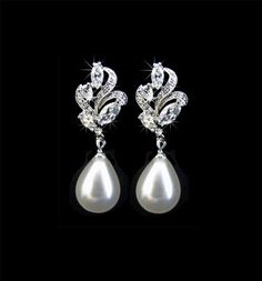 Bridal Earrings, Weddings, Jewelry, Silver, Pearls, Rhinestone, Crystal, Studs. Dangles