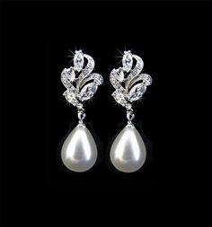 Bridal Earrings, Weddings, Jewelry, Silver, Pearls, Rhinestone, Crystal, Studs. Dangles