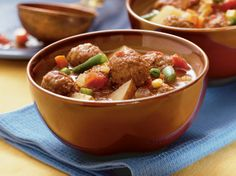 Make this hot and hearty slow-cooked meatball soup the main course of a simple meal.