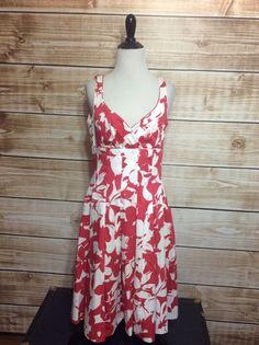 Lauren Ralph Lauren White Pink/Red Pleated Empire Waist A-Line Dress Size 6 #LaurenRalphLauren #EmpireWaist #Casual