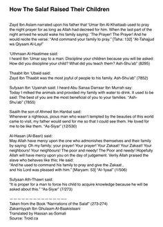 """• How The Salaf Raised Their Children"""