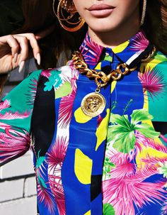 Love this great tropical inspired print with old jewellery x