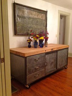 Industrial Kitchen Island   Galvanized With Butcher Block Top