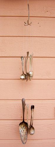 Silverware Wind Chimes: I've done this with a tin can instead of a fork at the top. The chimes sounds really pretty!