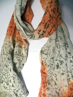 Hand made dip dyed and screen printed cotton by HollyEdenTextiles