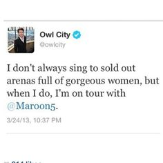 Owl City's tweet about the Overexposed tour. wish I could've gone