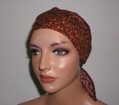 """Kopftücher - Kopftuch """"Ella"""" in dunkelrot, geblümt - ein Designerstück von beHUETE-dich bei DaWanda"""