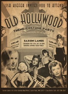 Emily Gerbig: Flyer and Invite Designer - Old Hollywood Party Hollywood Glamour Party, Old Hollywood Theme, Hollywood Poster, Hollywood Costume, Hollywood Wedding, Old Hollywood Movies, Vintage Hollywood, Classic Hollywood, 1920s Glamour