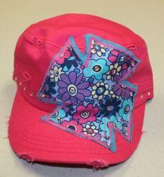 GUG Original Caps - Hot Pink Cap with Flower Cross $22.95 www.gugonline.com