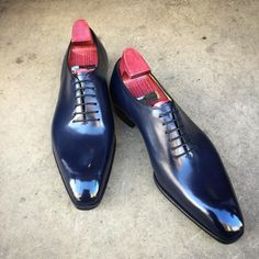 """Gaziano & Girling - Bespoke & Benchmade Footwear - The """"Cooper"""" on the square Deco last. Made to Order in our new crust navy calf. #gazianogirling #gazianoandgirling #shoeporn #madetoorder #GGCooper (hier: Savile Row)"""