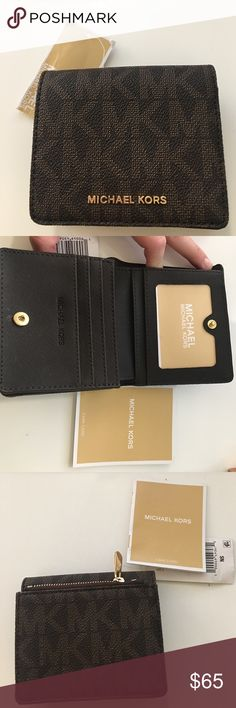 BNWT Authentic Michael Kors Wallet Brown leather with gold hardware. Brand new, never used, tags on! Includes Care tag.   ♥️Saffiano Leather wallet with snap closure  ♥️Zip back pocket ♥️lined interior, 8 card slots ♥️Cash pocket ♥️ID window protected by film ♥️measurements: 3.75in x4.25 in ♥️brand new, never used, tags on, care card included Michael Kors Bags Wallets