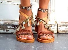 Leather Boho Sandals Atlantida Greek Sandals Handmade by DelosArt