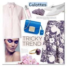 """Tricky Trend: Chic Culottes"" by mada-malureanu ❤ liked on Polyvore featuring Delpozo, SUNO New York, Furla, Nicholas Kirkwood, Christian Dior, Industrie, TrickyTrend, ring, jewelry and culottes"