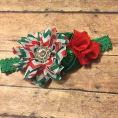 Christmas red and green baby girl headband hair bow