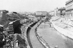 The regulation of the Wien river at Karlsplatz around 1898 Hungary, Austria, Paris Skyline, Black And White, History, Photographs, Travel, Outdoor, Beautiful