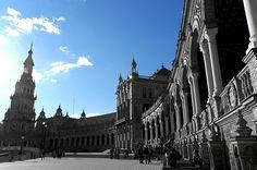 Seville - Plaza De Espana In Bw by Andrea Mazzocchetti - Prints for sale