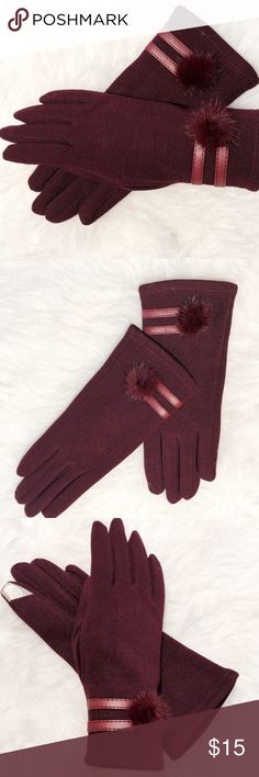 ✨ Wine Fur Trim Touch Screen Gloves Functional and fun!!! Now you can Posh in style without freezing your fingers off. These touch screen gloves are a great gift for the holidays. 100% acrylic. Machine washable Accessories Gloves & Mittens