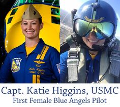 """Captain Katie Higgins is flying into history this weekend (4/18/2015) as she takes to the skies as the first female pilot in the 69 year history of the Blue Angels! At the Beaufort Air Show in South Carolina, she will fly publicly for the first time as a member of the US Navy's elite flight squadron. For the Maryland native, being an aviation trailblazer and role model is an honor: """"if that's inspiring to little girls around the country, then I'm doing my job."""""""