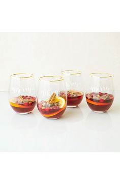 CATHY'S CONCEPTS Be Merry Set of 4 Stemless Wine Glasses CAD 88.57Item #5279836 Price varies with currency exchange rates and may be different than in store.